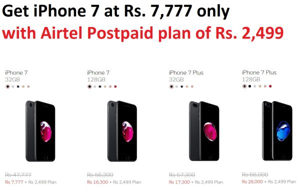 iPhone 7 with Airtel postpaid offer in India - price and cost